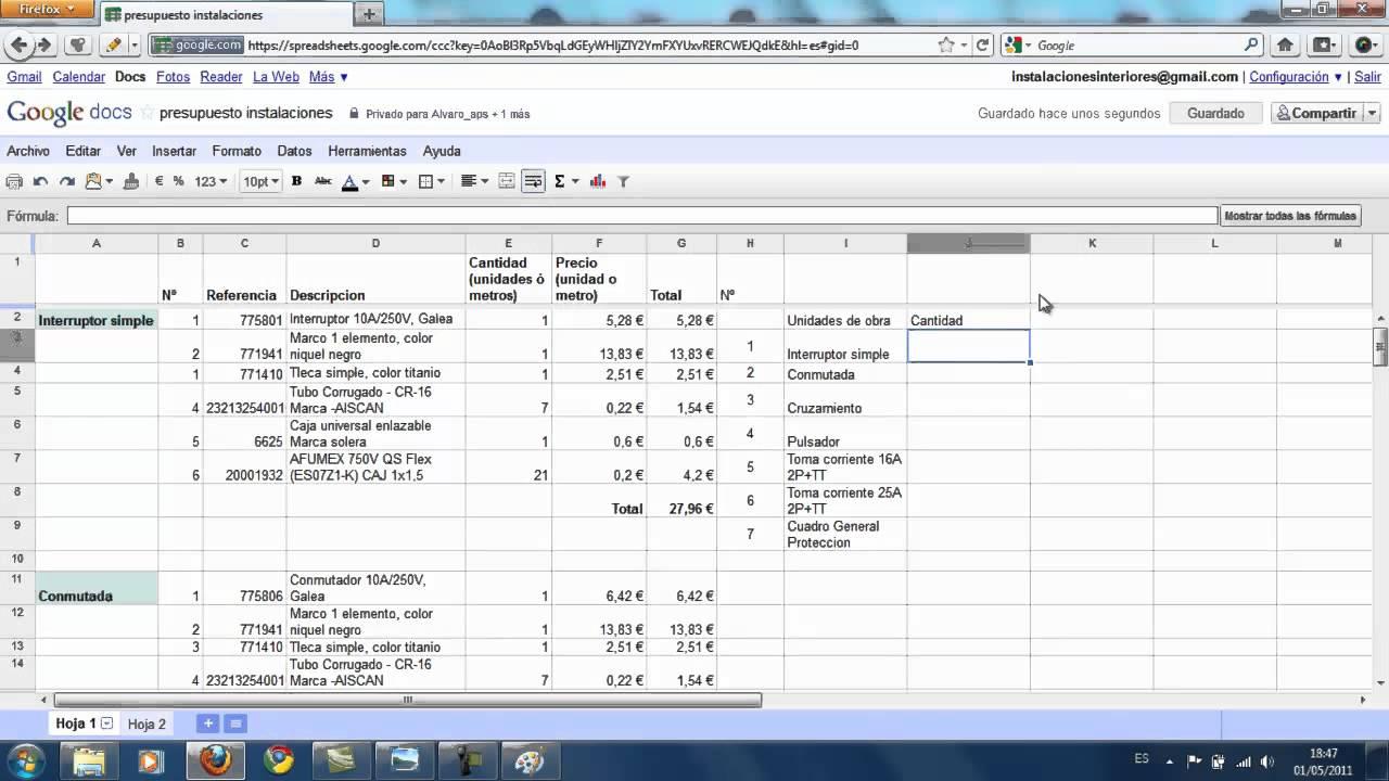Presupuesto material de instalaci n el ctrica en vivienda realizado con google youtube - Presupuestos para hacer una casa ...