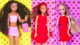 How To Make Very Easy Barbie Clothes - No-sew No-Glue Doll Dress