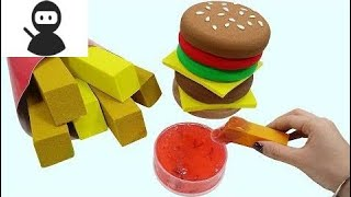 How To Make Kinetic Sand Hamburger & French Fries Play Doh Learning Video Colors Mad Mattr New 2018