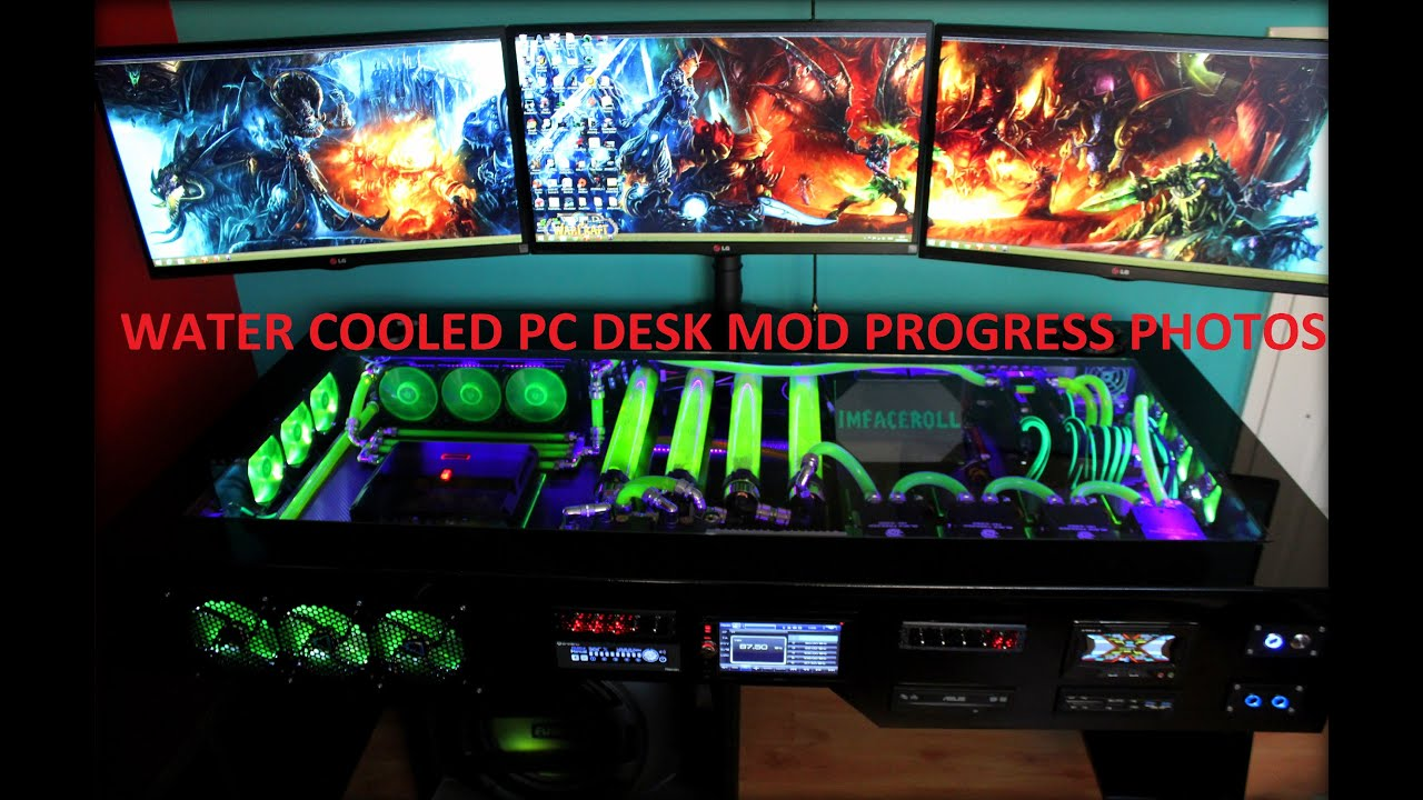 Custom water cooled PC desk mod Photo progress part 5 4k,1440p - YouTube