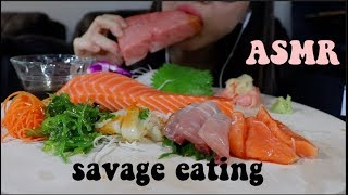 ASMR SASHIMI *SAVAGE EATING* OTORO (FATTY TUNA) AND KING SALMON. WHISPER SOUNDS.