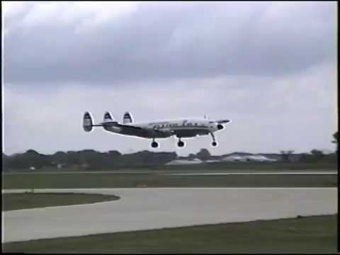 "Lockheed Super ""G"" Constellation takeoff & flight, Chicago to Kansas City, 1994"