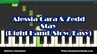 Zedd & Alessia Cara - Stay - Right Hand Slow Easy Piano Tutorial - Notes