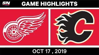 NHL Highlights | Red Wings vs Flames - Oct 17 2019