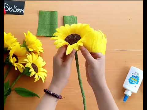 Special way to make sunflower from crepe paper - SO EASY - Let's make it for summer!!!