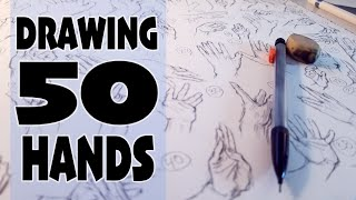 Drawing 50 Hands On One Sheet Of Paper