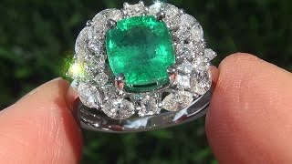 Certified Jewelry Natural Colombian Emerald Diamond 14k White Gold Cocktail Estate Ring - C769