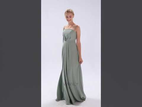 Long Sleeve Cold Shoulder Crepe Bridesmaid Gown VA29449