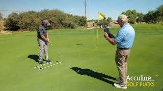 Putting Practice with V1 Sports Golf Swing Analysis App & Golf Pucks Swing Trainer