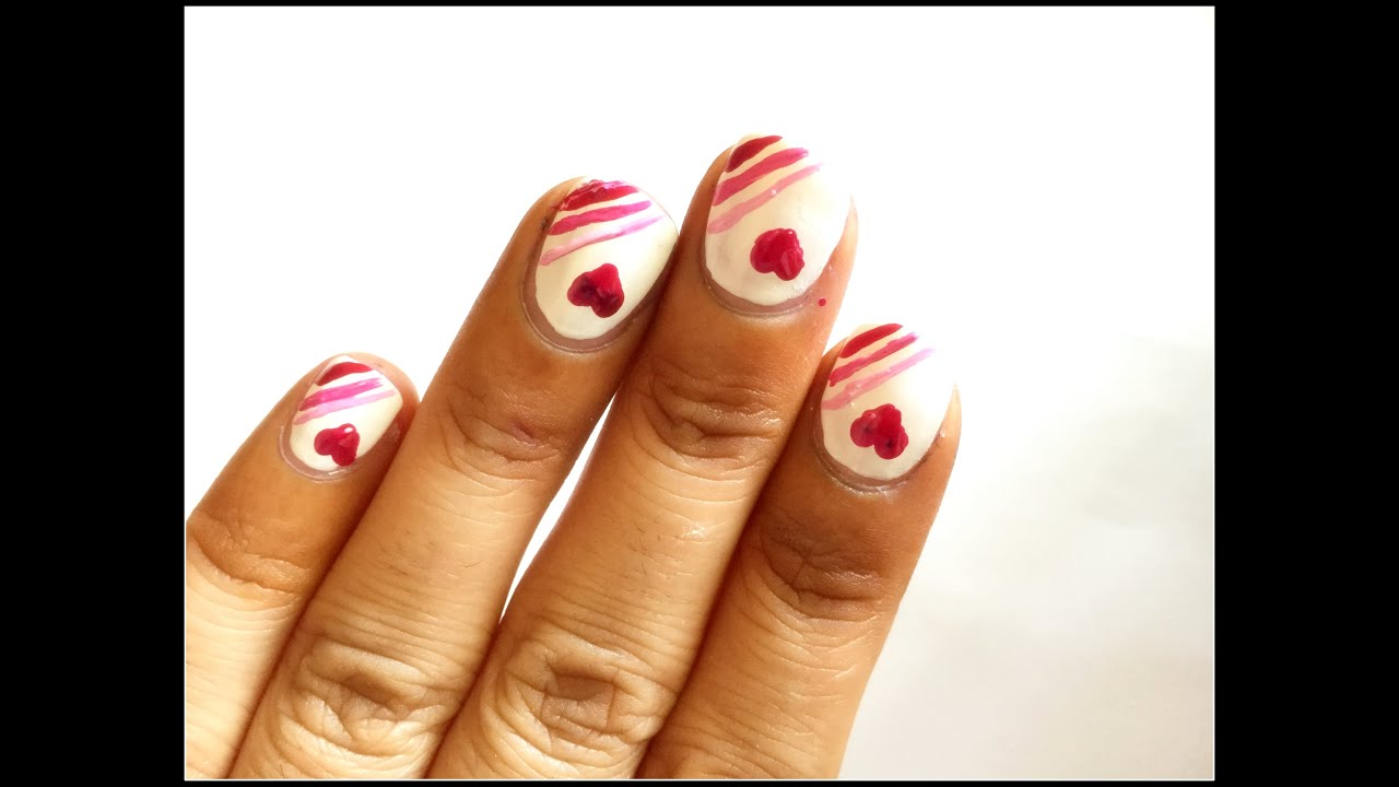 Love Heart nail Art Design Easy Nail Art - YouTube