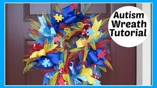 How to Make Autism Awareness Ribbon Wreath Tutorial