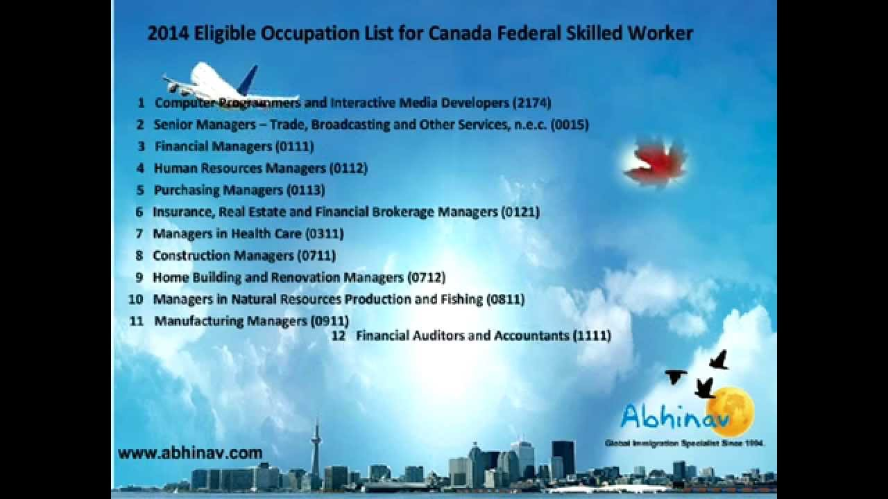 abhinav outsourcings federal skilled worker occupation abhinav outsourcings federal skilled worker occupation list 2014 2015