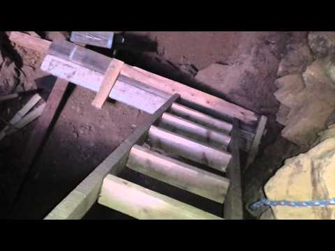 Gold Mine Construction - DIY Home Made Ladders To Access The Ledge