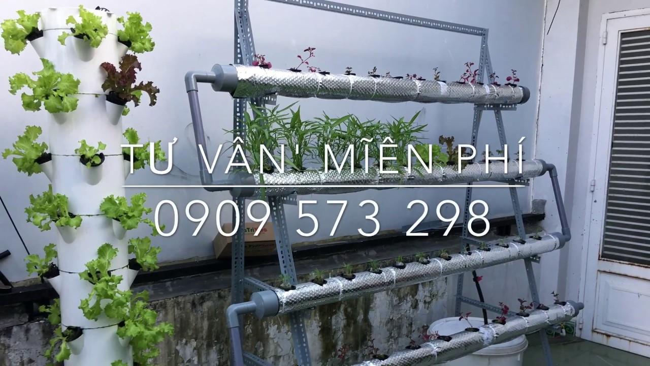 HƯỚNG DẪN TỰ LÀM GIÀN THỦY CANH HỒI LƯU ỐNG PVC 90 trồng rau sạch