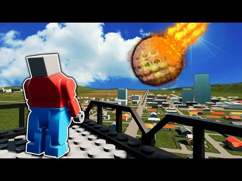 New Flamethrower Meteorite Destroys Lego Buildings in Brick Rigs! |