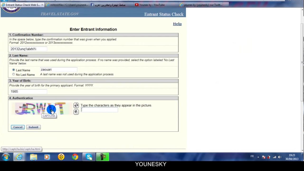 Entrant Status Check >> طريقة معرفة نتيجة قرعة أمريكا Entrant Status Check DV.Lottery - YouTube
