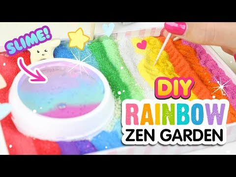 DIY RAINBOW ZEN GARDEN!! Relaxing Crafting Tutorial with Crystal Slime Pool, Holo Moon & MORE!