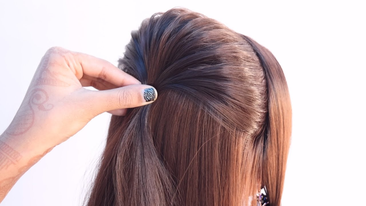 2 beautiful hairstyle for engagement look   two ponytail hairstyle   fishtail braid hairstyle