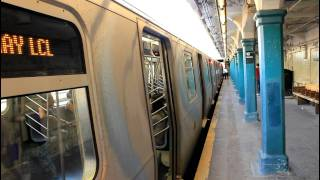 BMT / IND: Coney Island Bound R68 (D) (rerouted) and R160 (N) train at 18th Avenue (Sea Beach)