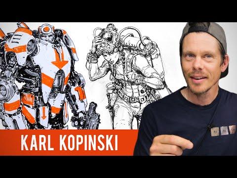 Karl Kopinski Sketchbook Tour - Filling Up 5 Sketchbooks A Year