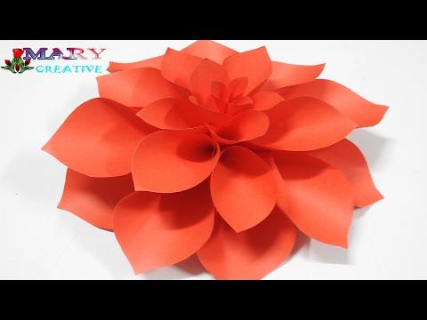 Mary Creative - Origami#14 | Paper Dahlia flower | diy dahlia flower Tutorial