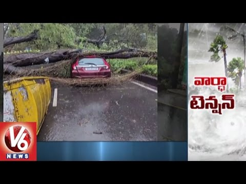 Vardah Cyclone Touches Chennai With Strong Winds Causing Heavy Damage | V6 News