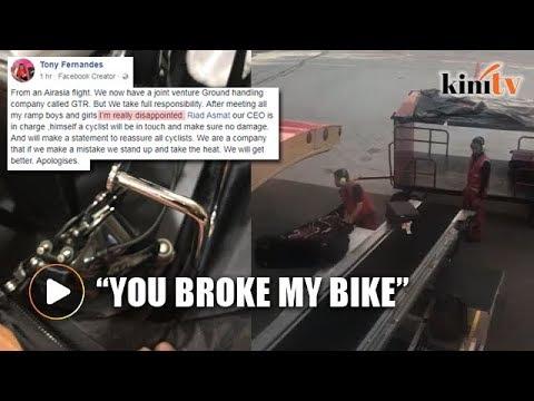 Passenger watches in horror as baggage handlers 'break' her bike