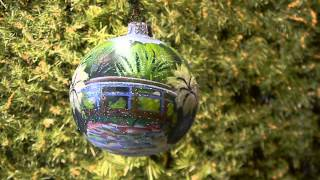 Claude Monet's The Japanese Bridge Glass Christmas Ornament