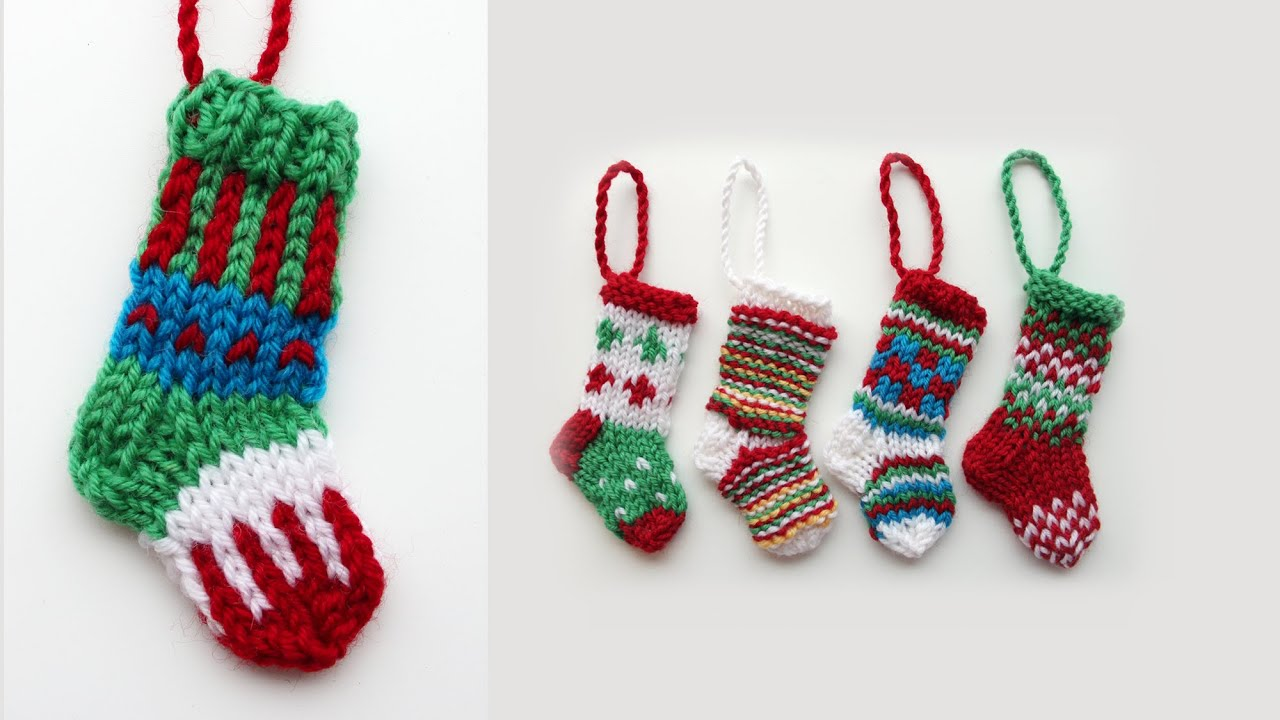 Mini Christmas stocking 2 - knitting tutorial - YouTube