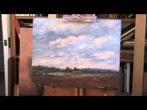 Sky tutorial using acrylic supported by a typical Norfolk landscape, UK