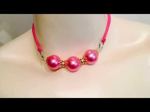 DIY choker using large pearl acrylic beads
