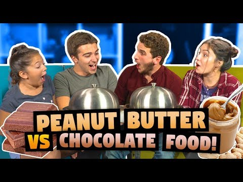PEANUT BUTTER VS CHOCOLATE FOOD CHALLENGE (ft. React Cast)