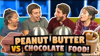 PEANUT BUTTER VS CHOCOLATE FOOD CHALLENGE (ft. React Cast)