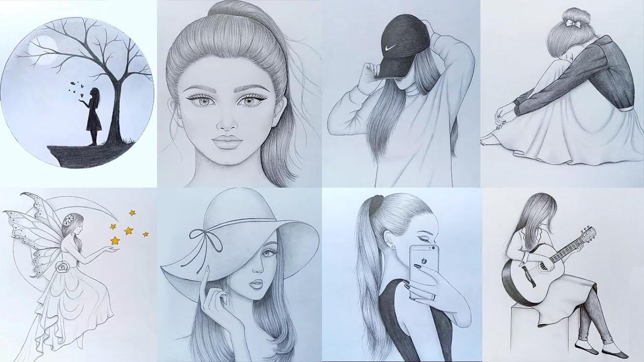 20 easy girl drawing ideas  part  20     Pencil sketch Tutorials    Art  Videos