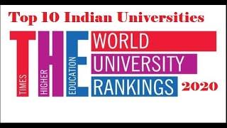 TOP 10 INDIAN UNIVERSITIES RANKED IN WORLD UNIVERSITY RANKINGS 2020