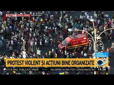 Imagini de sus de la protestul violent din Piaţa Victoriei