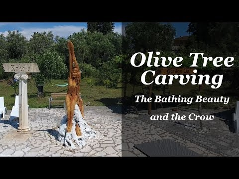 Olive Tree Carving - The Bathing Beauty and The Crow