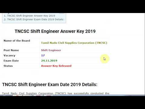 TNCSC Shift Engineer Answer Key 2019 Out – Download for Mechanical & Ele...