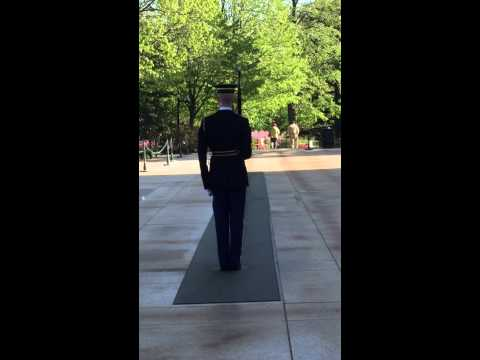 Army Guard at Arlington National Cemetery yells at crowd to quiet down/show respect... April 2015.