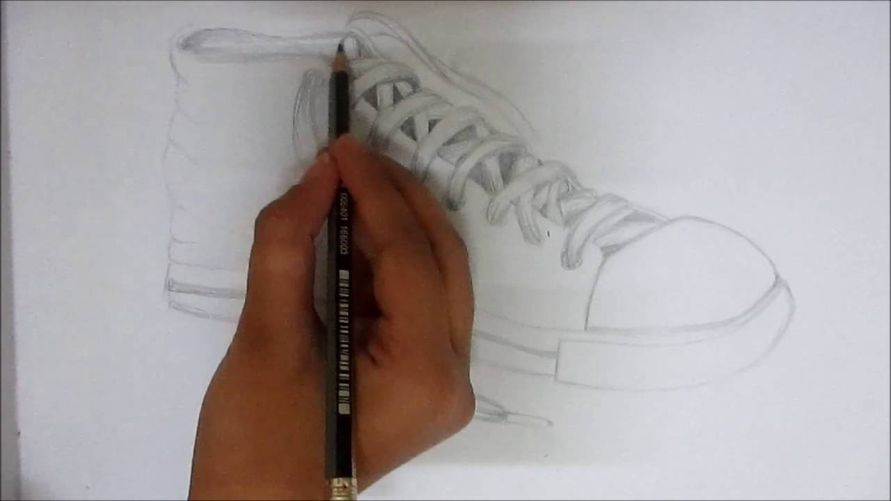 Pencil shading of a shoe speed drawing