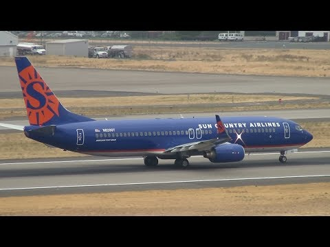 Sun Country Airlines 737-800 [N828SY] Takeoff Portland Airport (PDX)