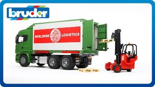 Bruder Toys SCANIA R-Series Cargo Truck with Forklift Attached #03580