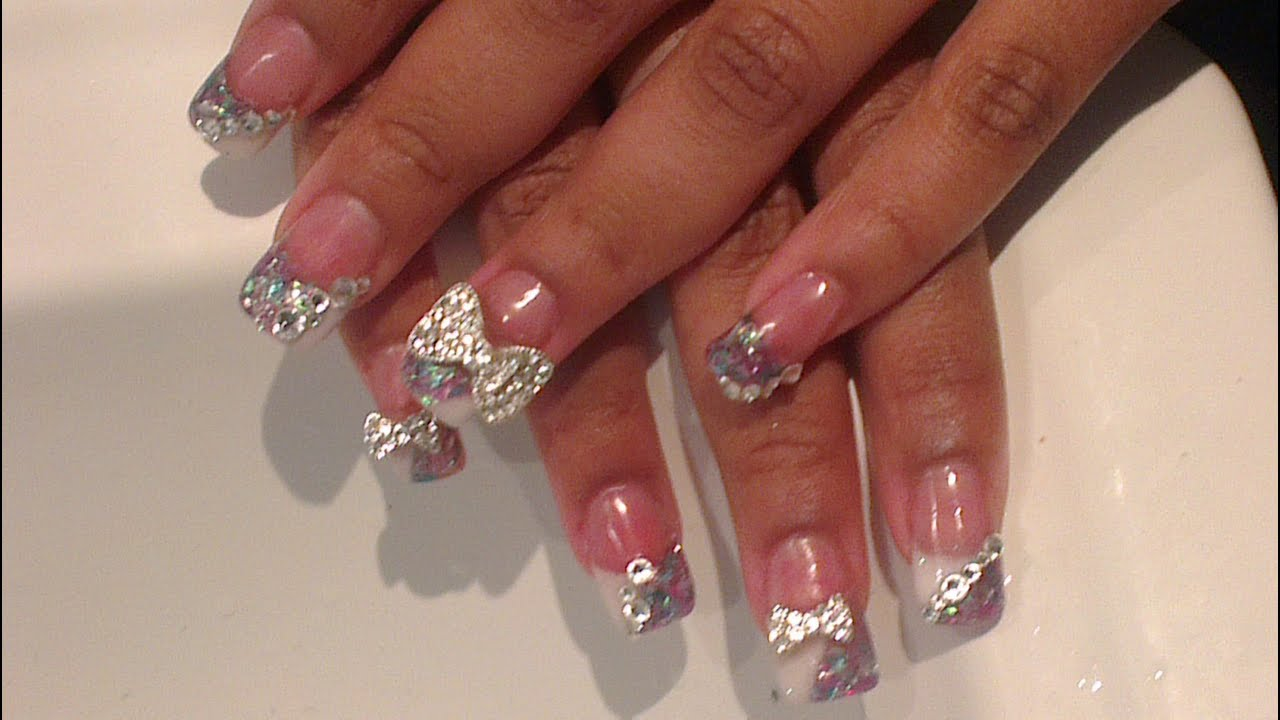 Acrylic nails big bling bows youtube prinsesfo Gallery