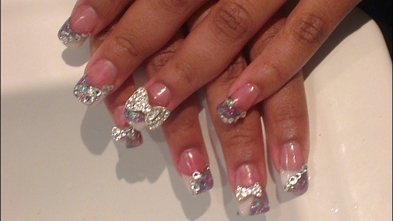 acrylic nails big bling bows