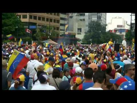 VENEZUELA PROTEST AGAINST THE OPPOSITION LEADER LEOPOLDO BEING DETAINED IN PRISON.