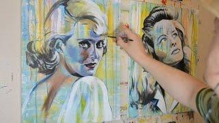 Painting Katharine Hepburn and Bette Davis