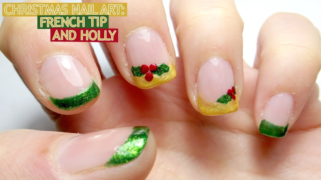 Christmas Nail Art: French Tip and Holly - YouTube