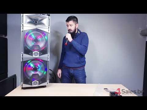 Професионална тонколона с Bluetooth, микрофон, пулт и цветомузика CH6212 8
