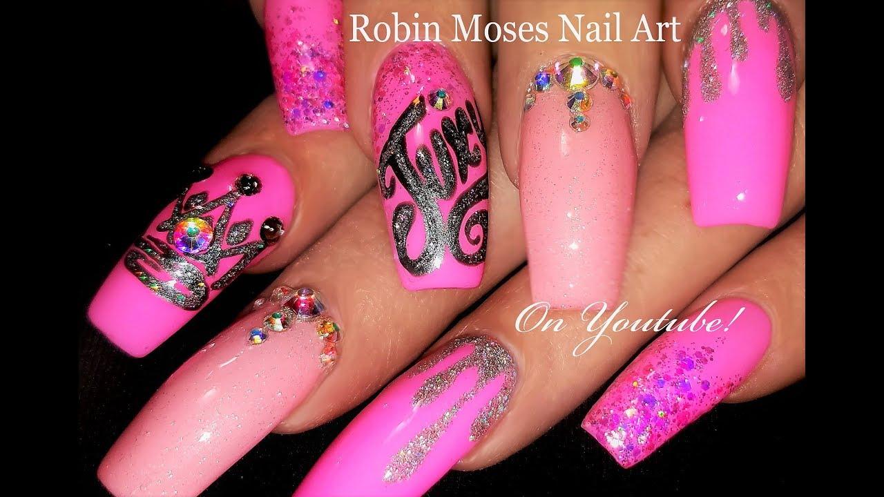 Juicy Divalicious Pink Glitter Nails | Fierce Diva Nail ...