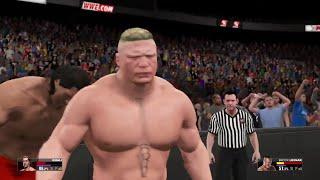 WWE 2K15-  Brock Lesnar vs Great Khali Fall Count Anywhere  Match (PS4)